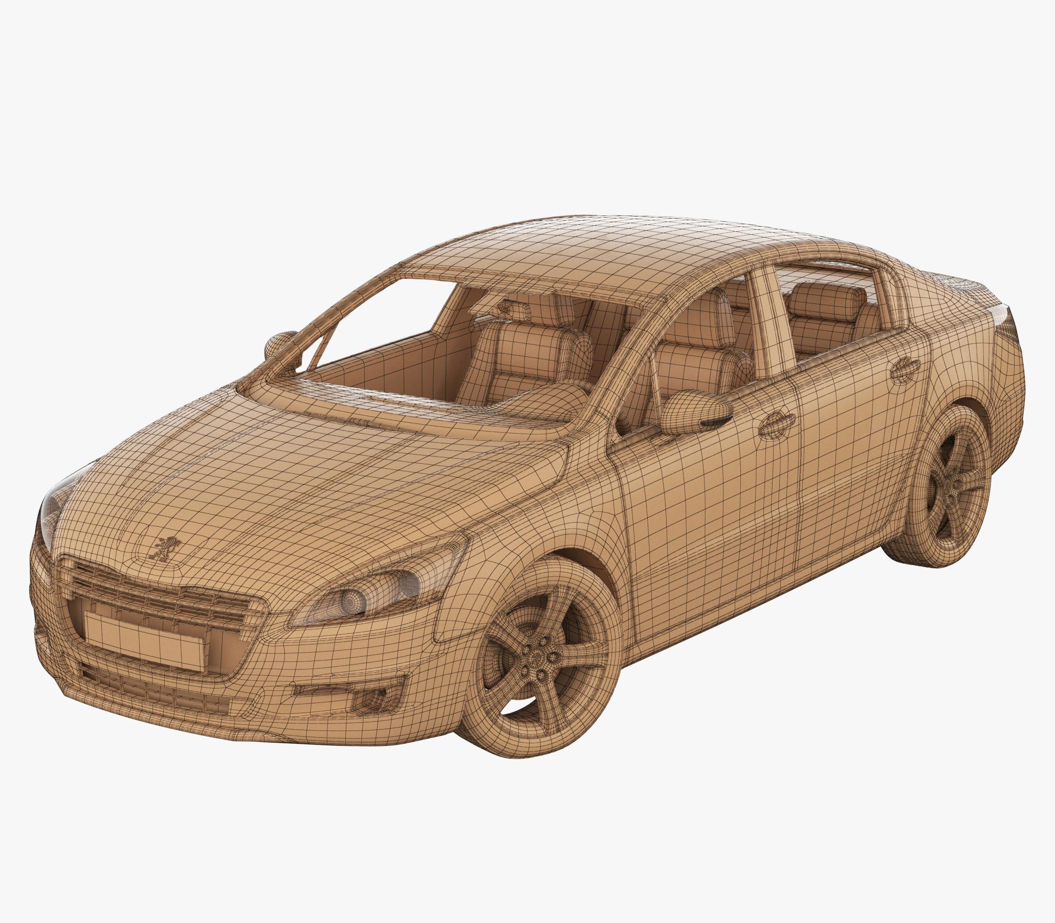 Peugeot 508 Wireframe 3D Model