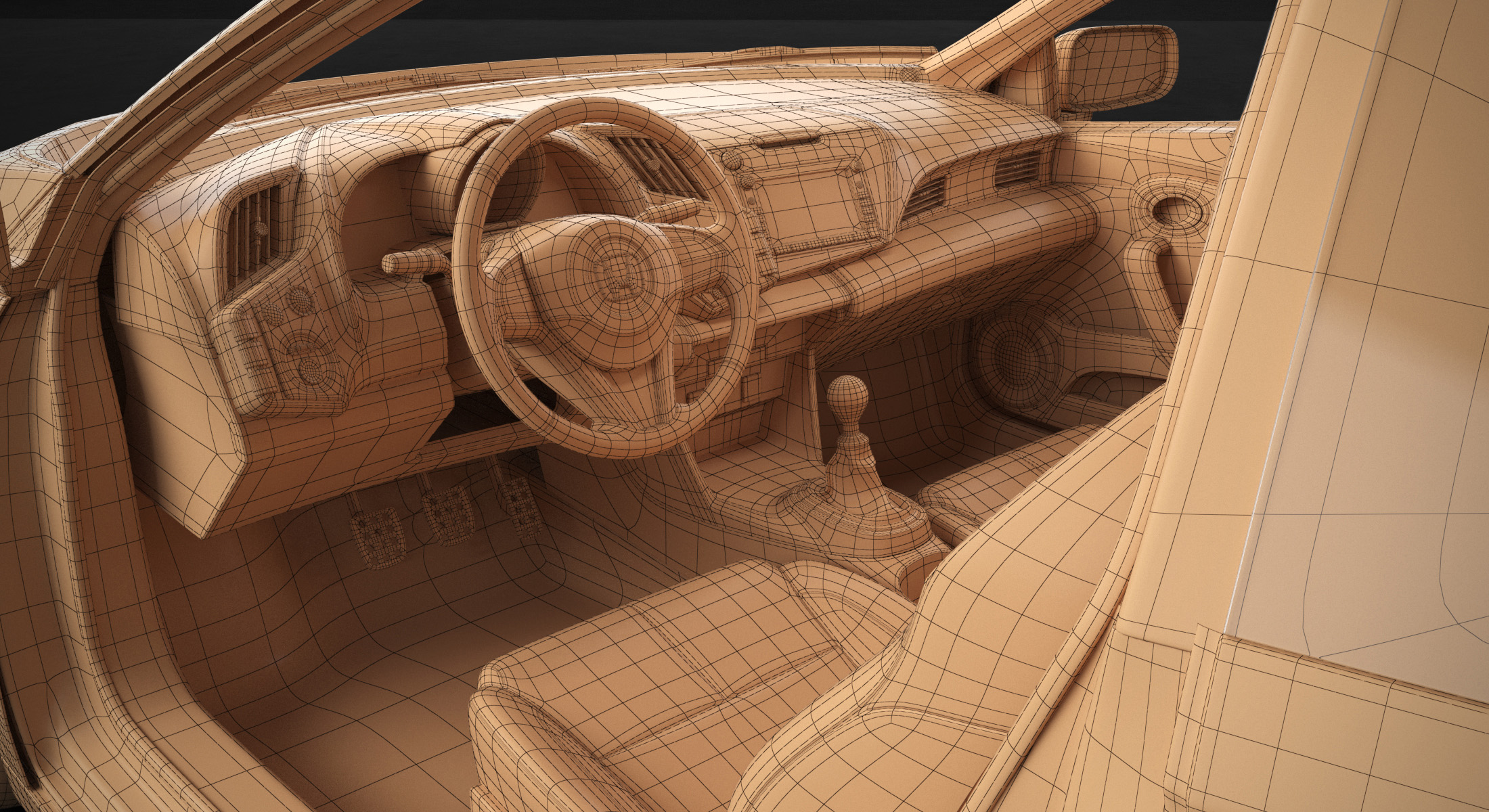 Honda Interior Wireframe 3D Model