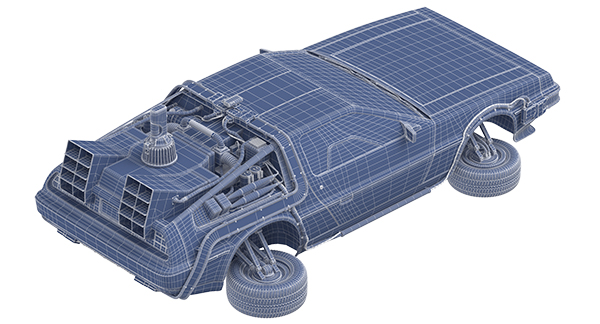 Delorean Fying Wireframe