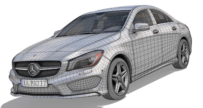 3D Mercedes Wireframe
