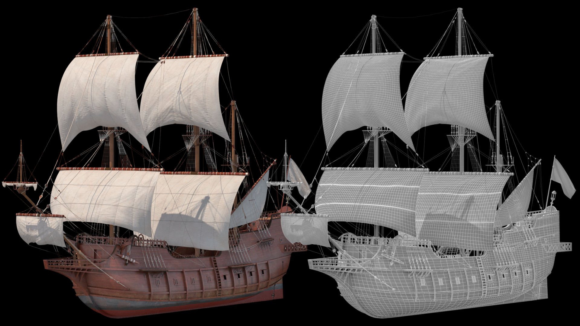 Spanish Galleon Ship 3D Model and Wireframe
