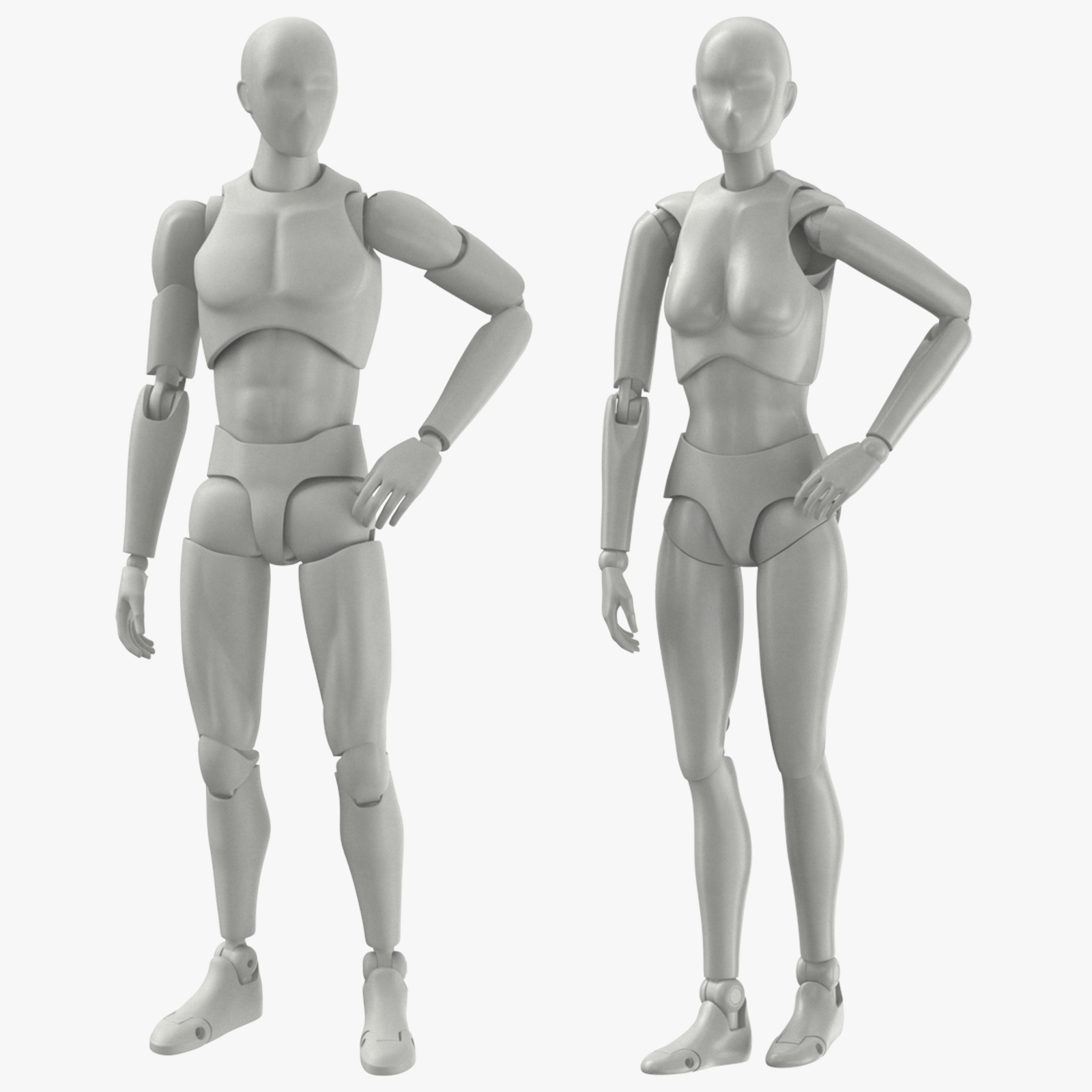 Mannequin Male and Female 3D Models