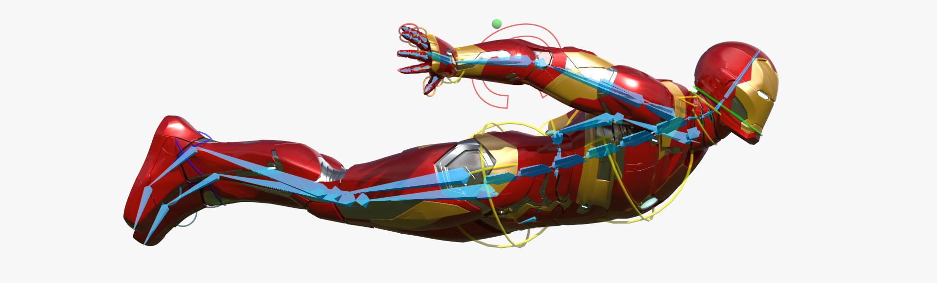 Iron Man Flying Rigged 3D Model