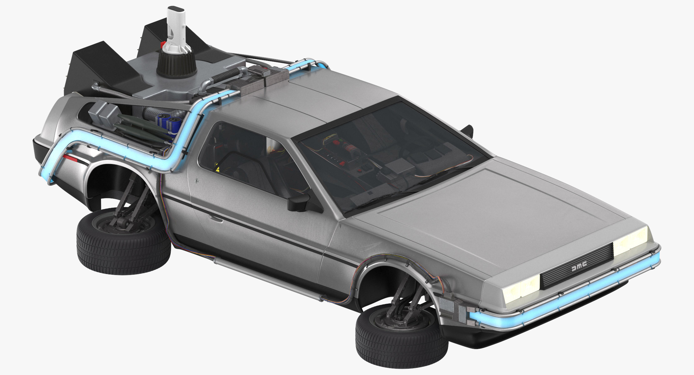 DeLorean Back To The Future Flying 3D Model