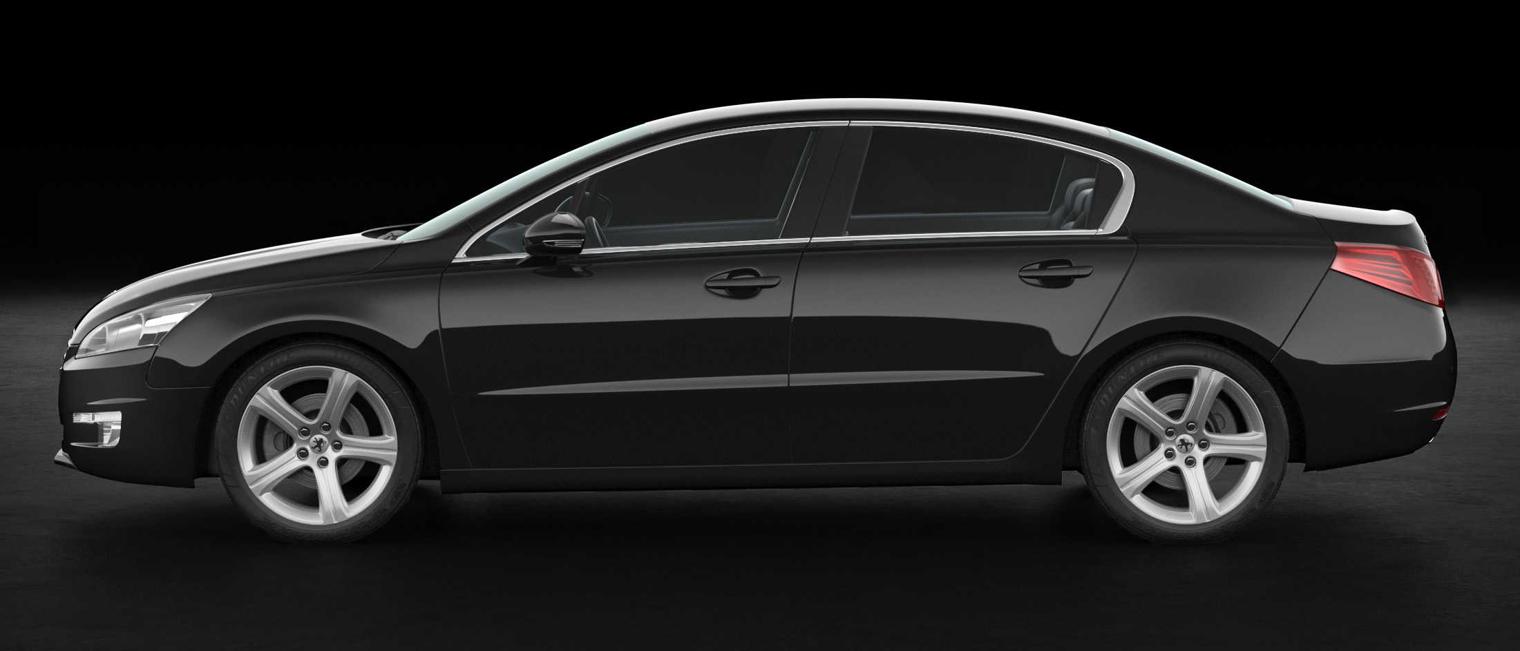 Peugeot 508 Black Background 3D Model