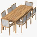 Patio Dining Table Rectangle and 8 Chairs - thumb 1