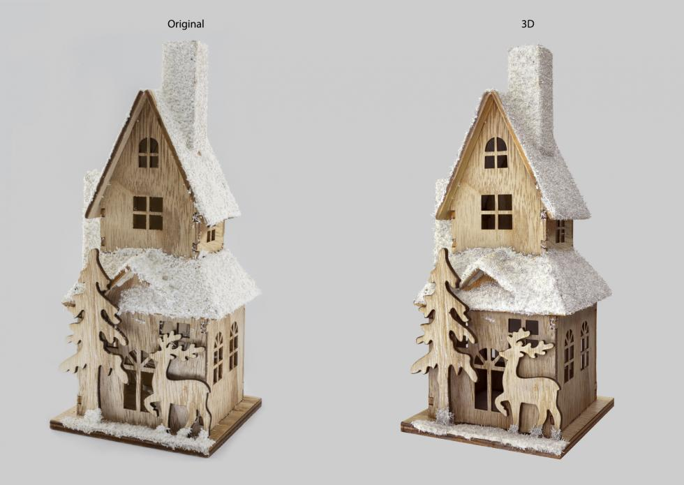 3D Digitalization Christmas Wooden House Decoration