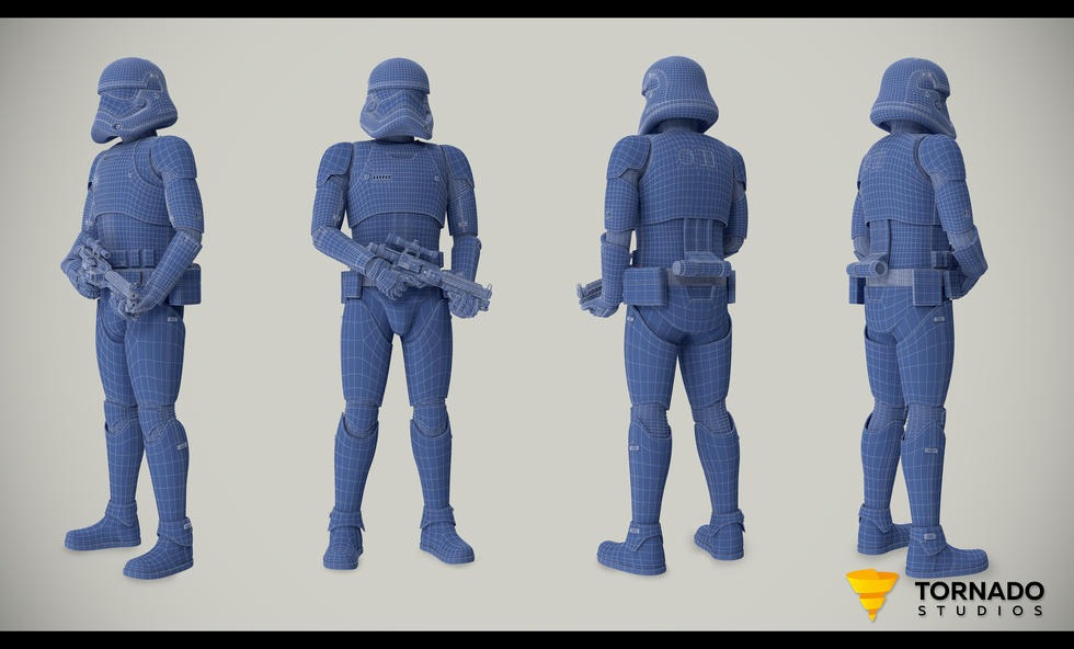 Storm Trooper Blue Wireframe
