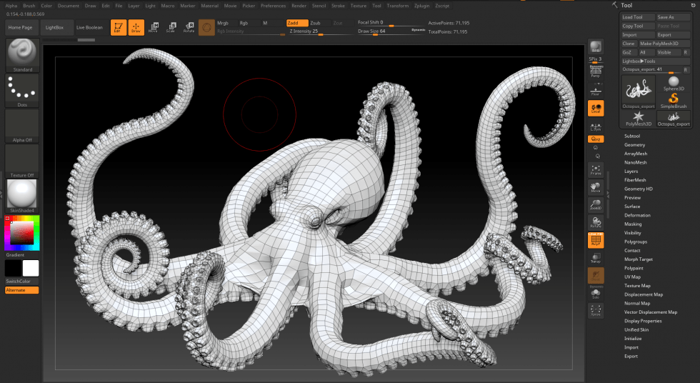 Pixologic Zbrush Interface