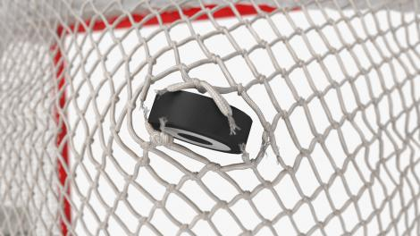 Ice Hockey Net Ripping Through Effect