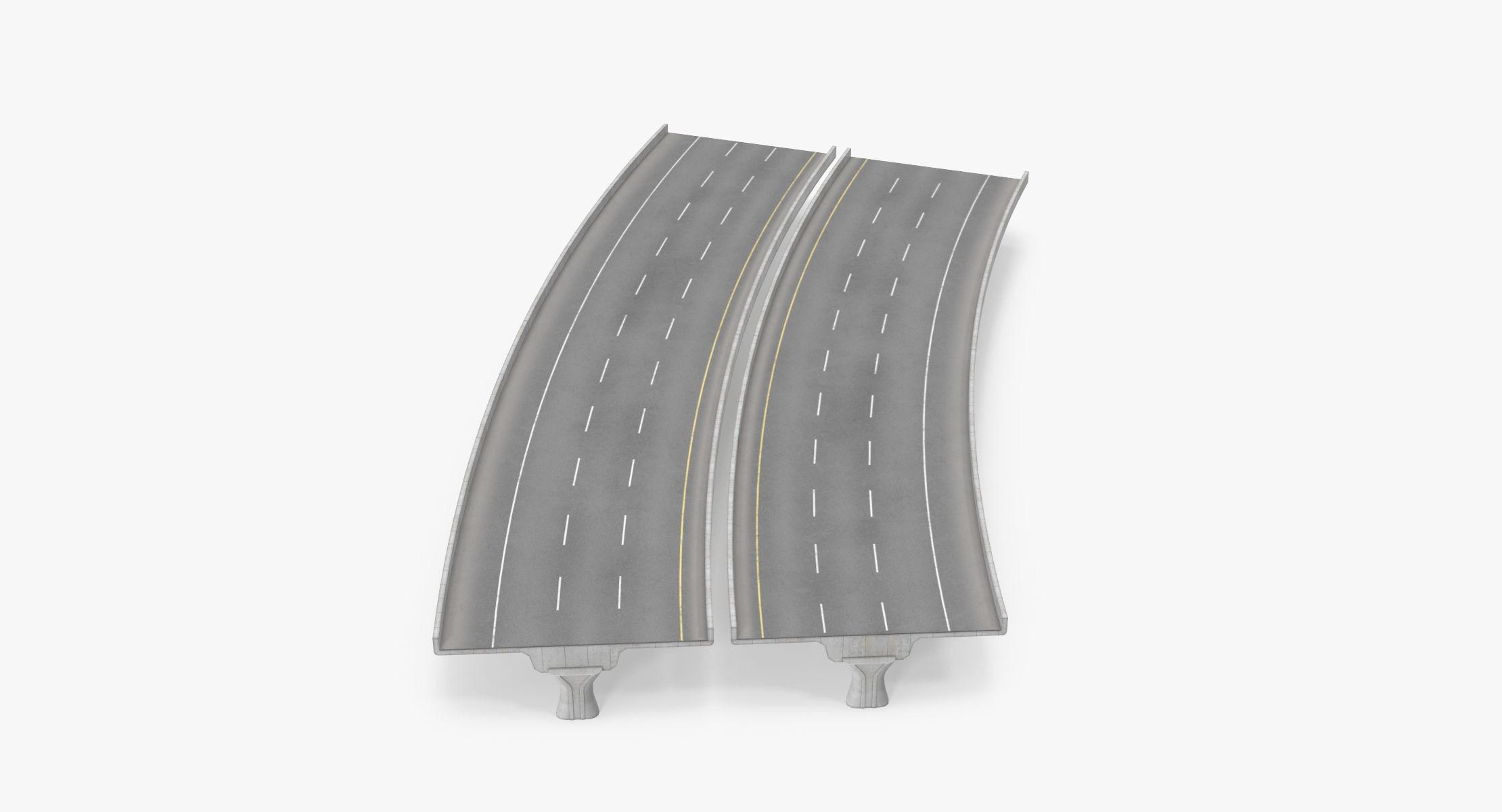 3 Lane Raised Highway 22.5 Degree Turn - 5m - reel 1
