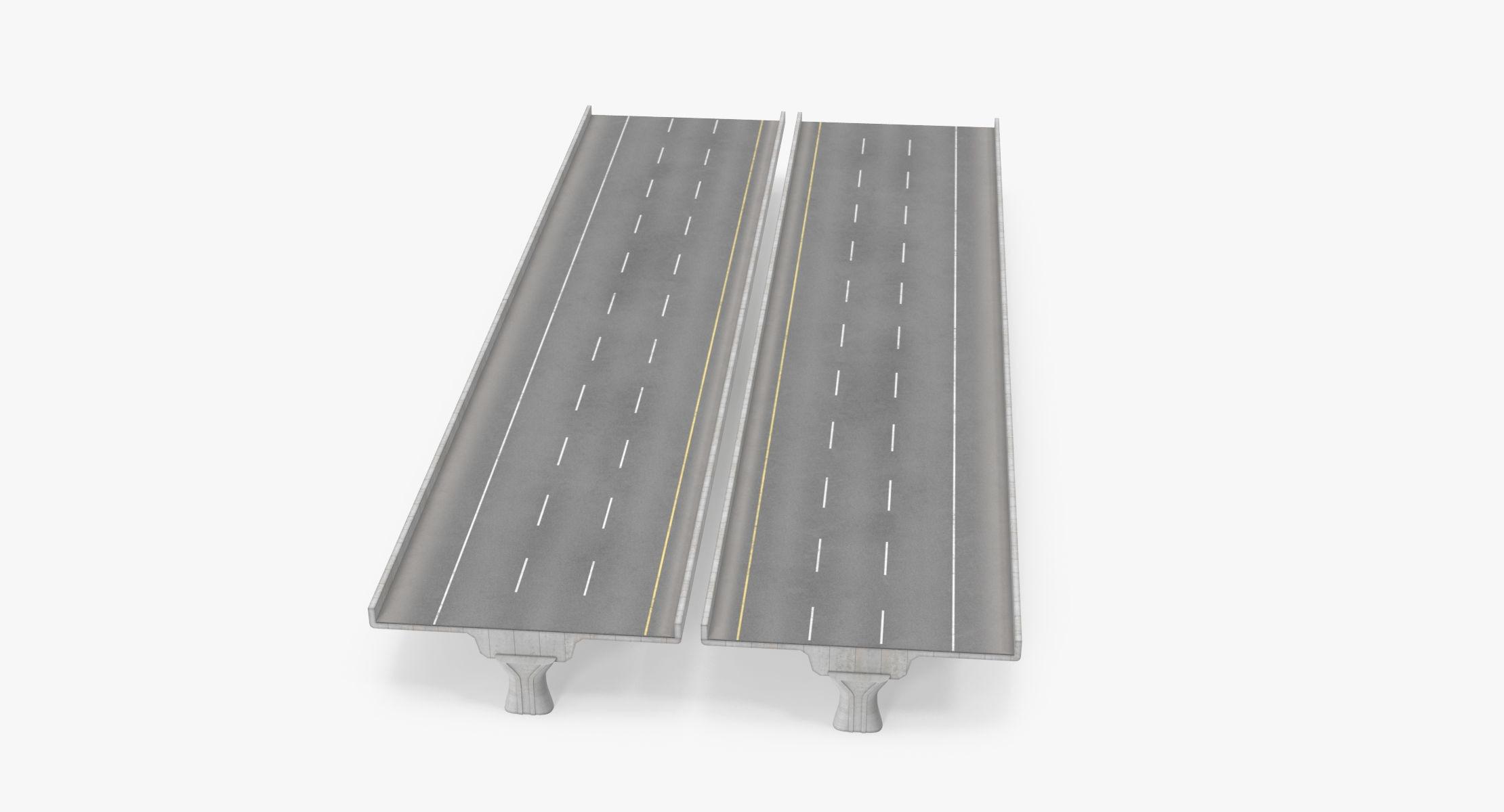 3 Lane Raised Highway Straight - 5m - reel 1