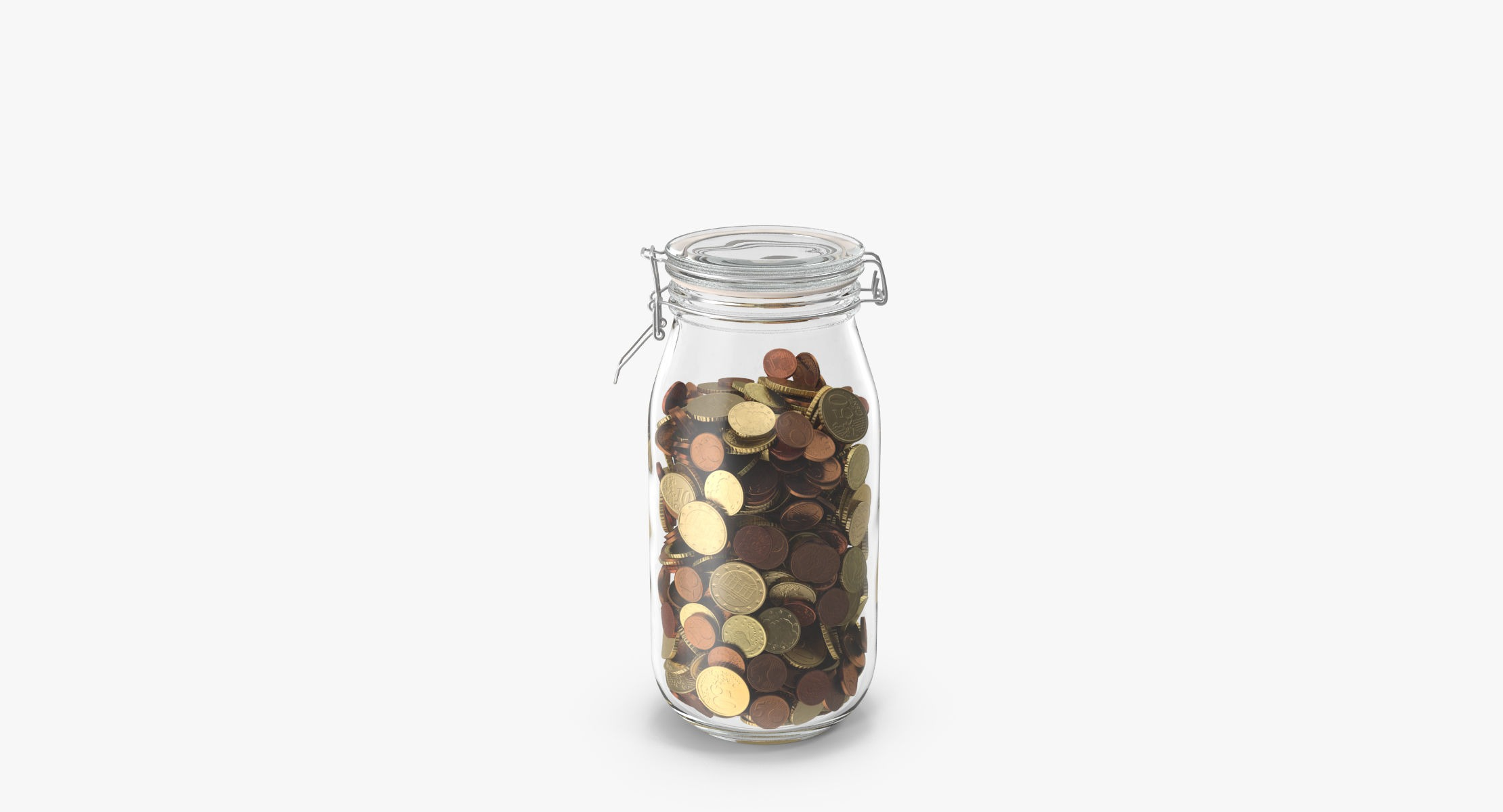Glass Jar With Currency 02 Euro - reel 2