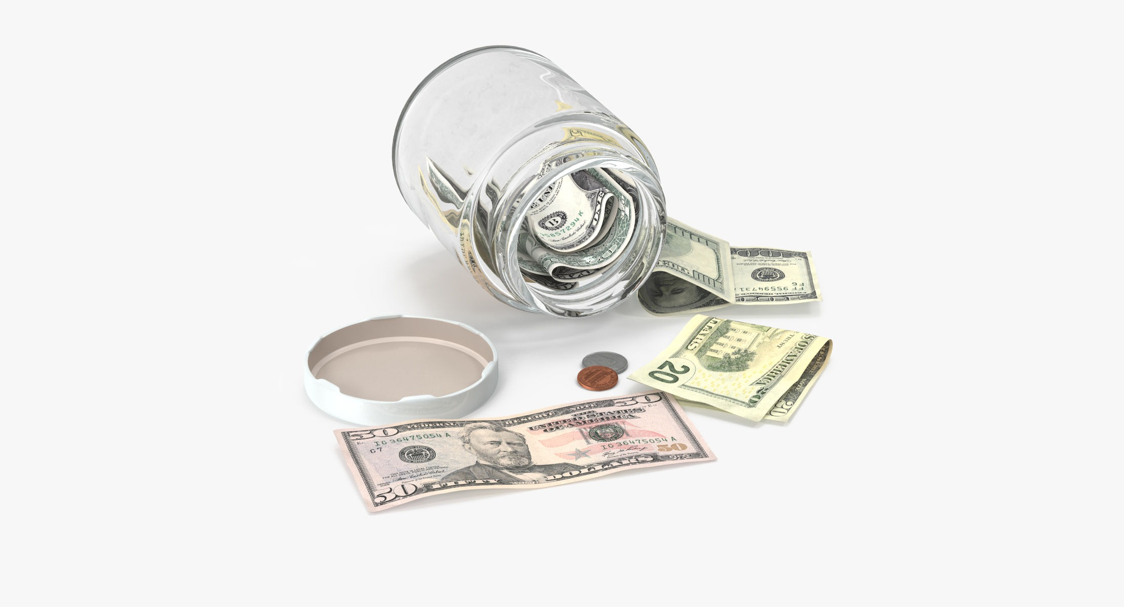 Glass Jar With Currency 04 - reel 1