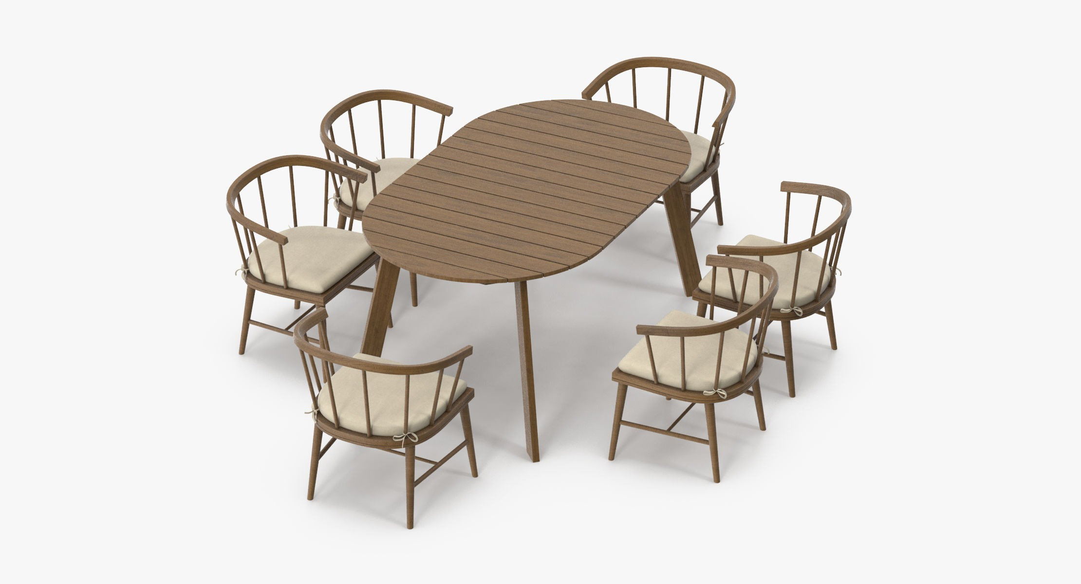 Patio Dinning Table Round and 6 Chairs - reel 1