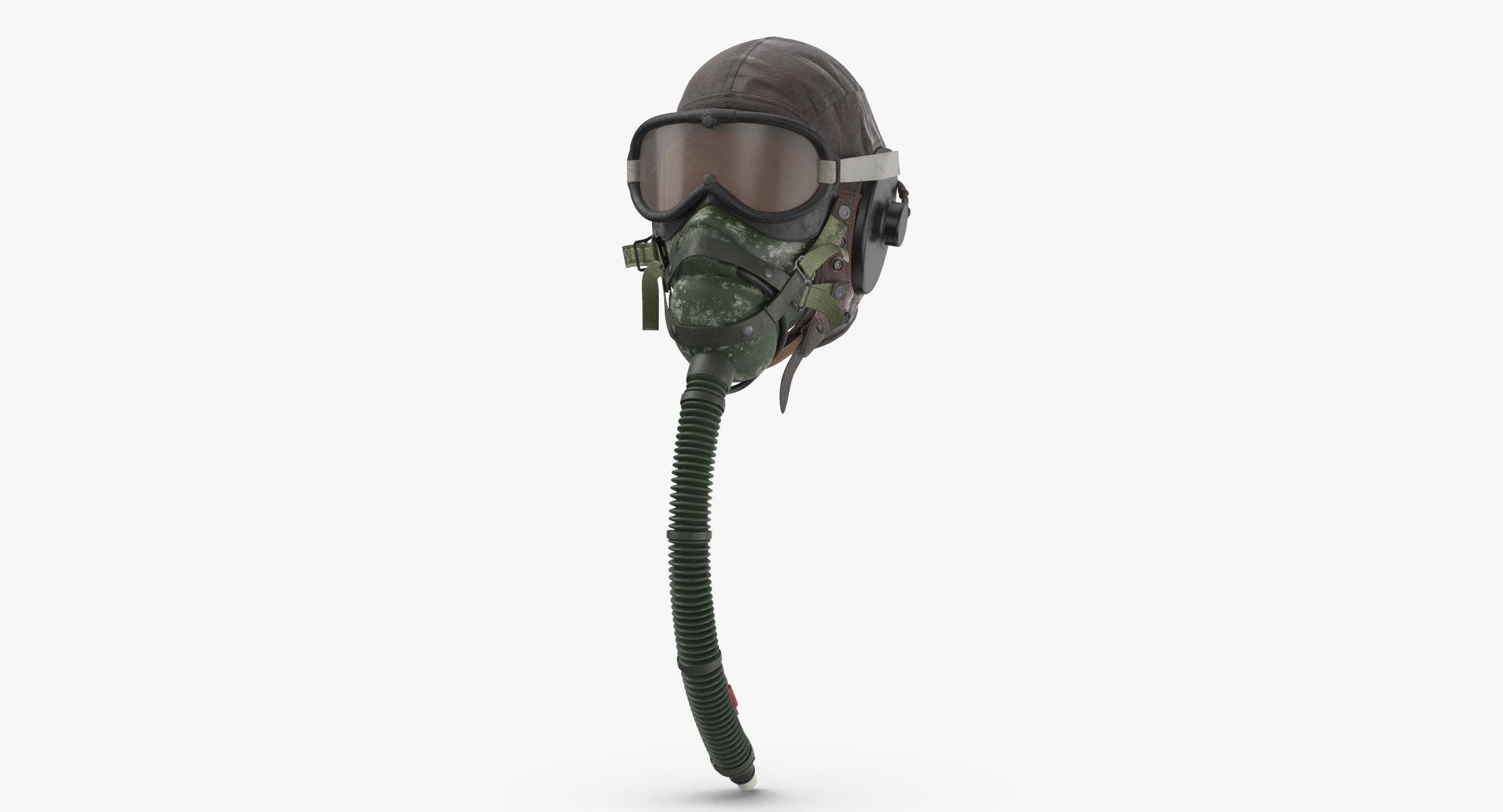 Pilot Head Gear With Oxygen Mask (WWII) - Worn 3D model - reel 1