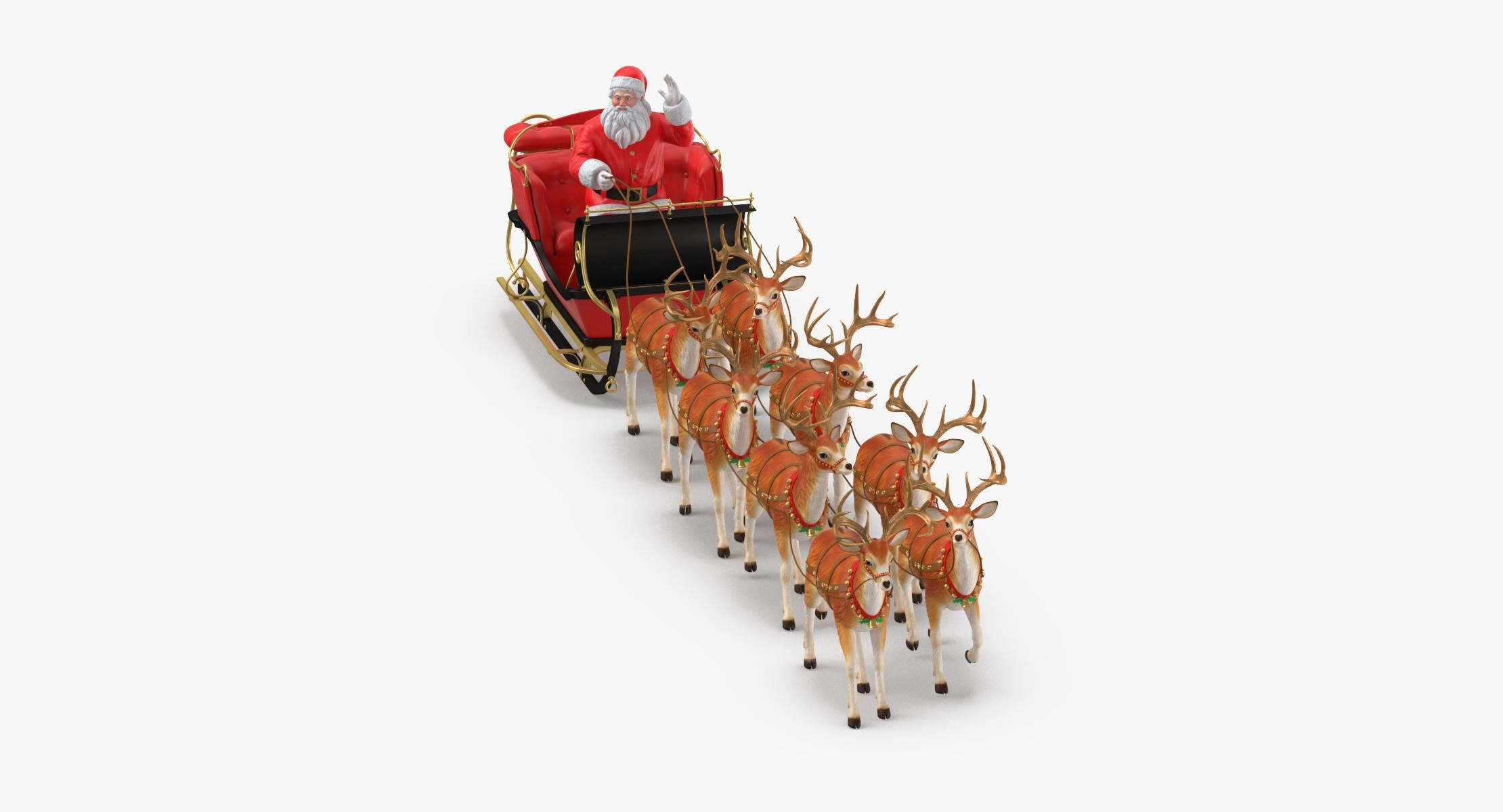 Santa Claus with Sleigh and Reindeer Walking - reel 1