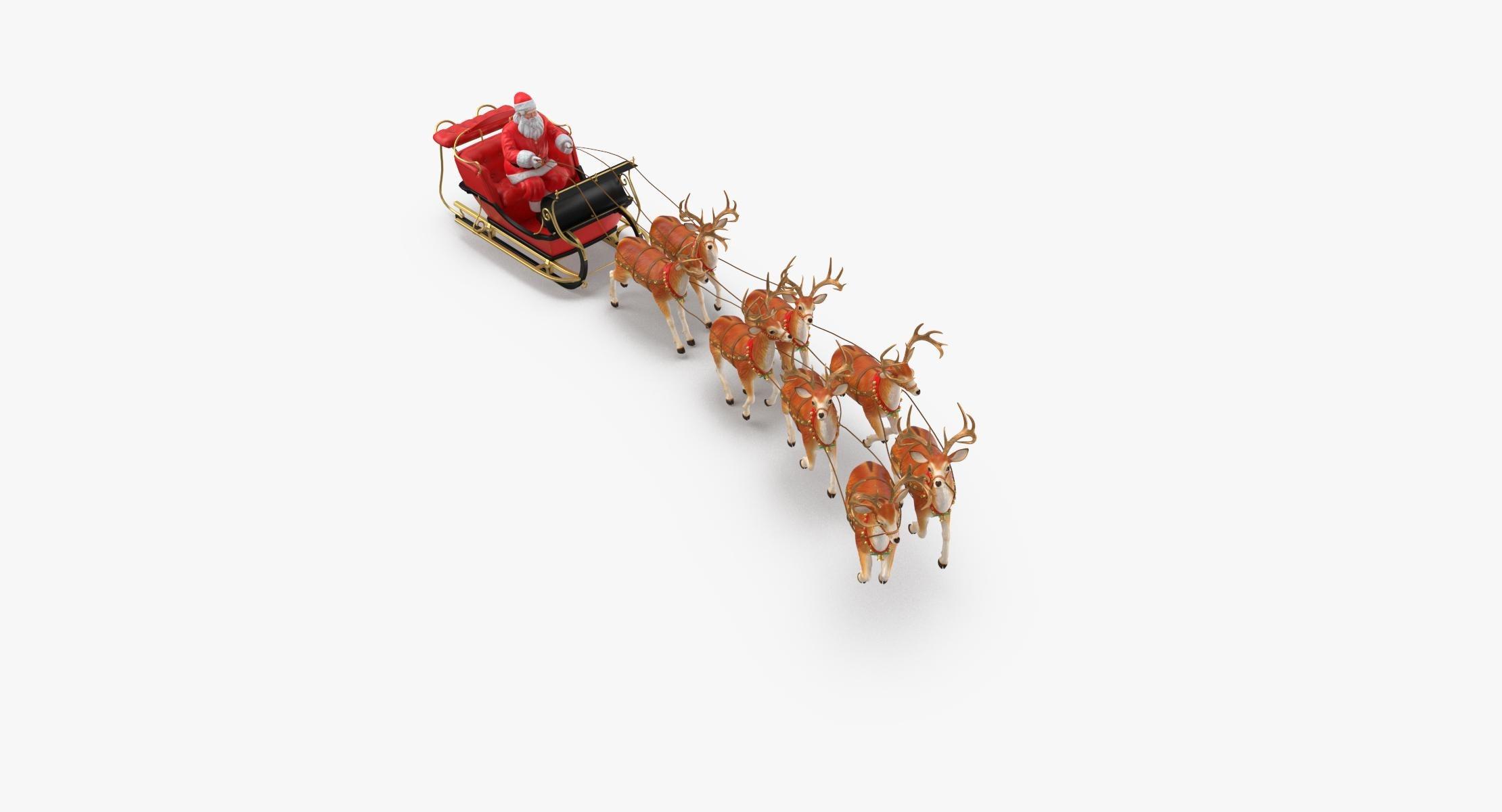 Santa Claus with Sleigh and Reindeer Flying - reel 1