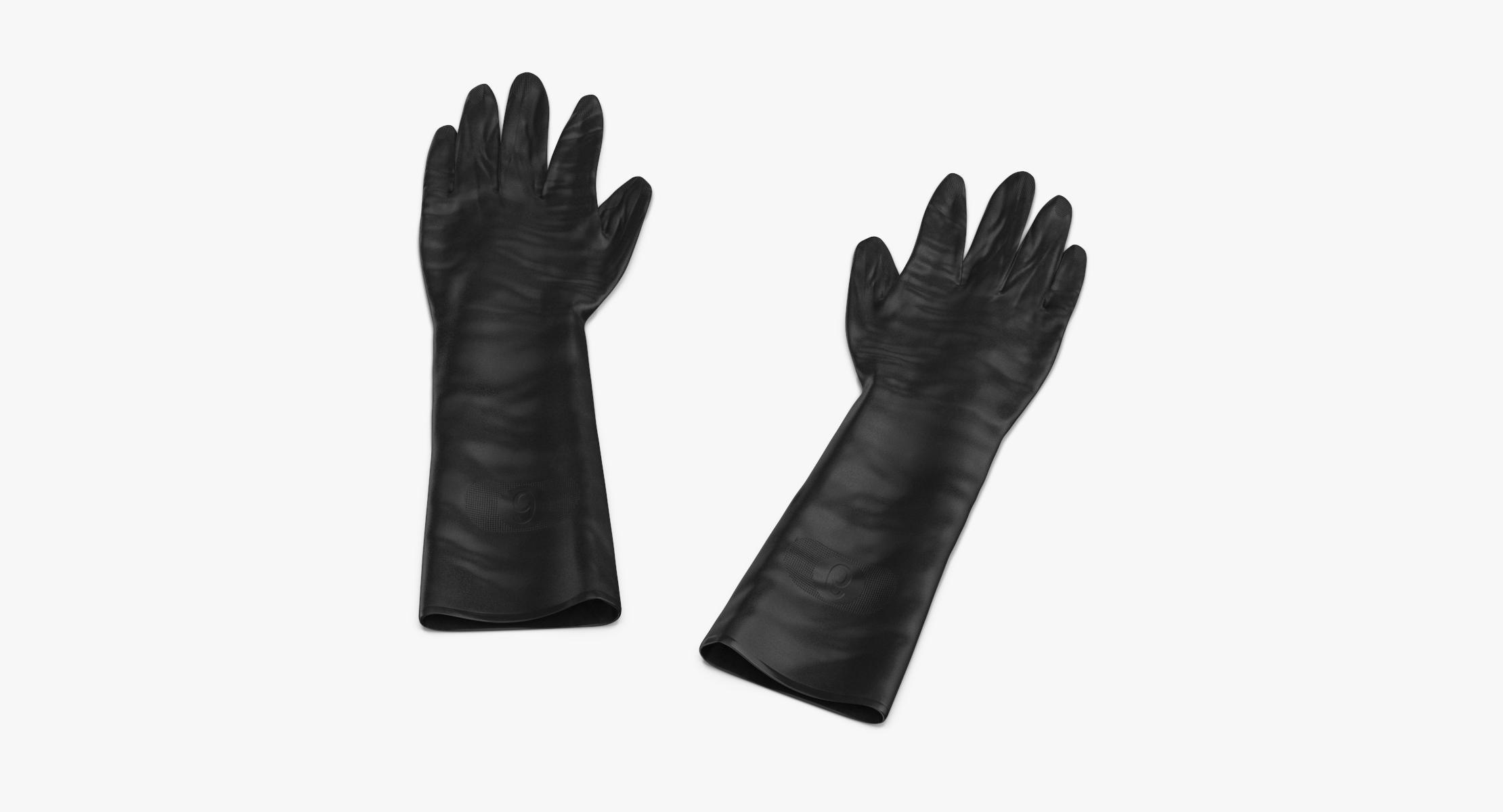 Large Black Rubber Lab Gloves Laying - reel 1