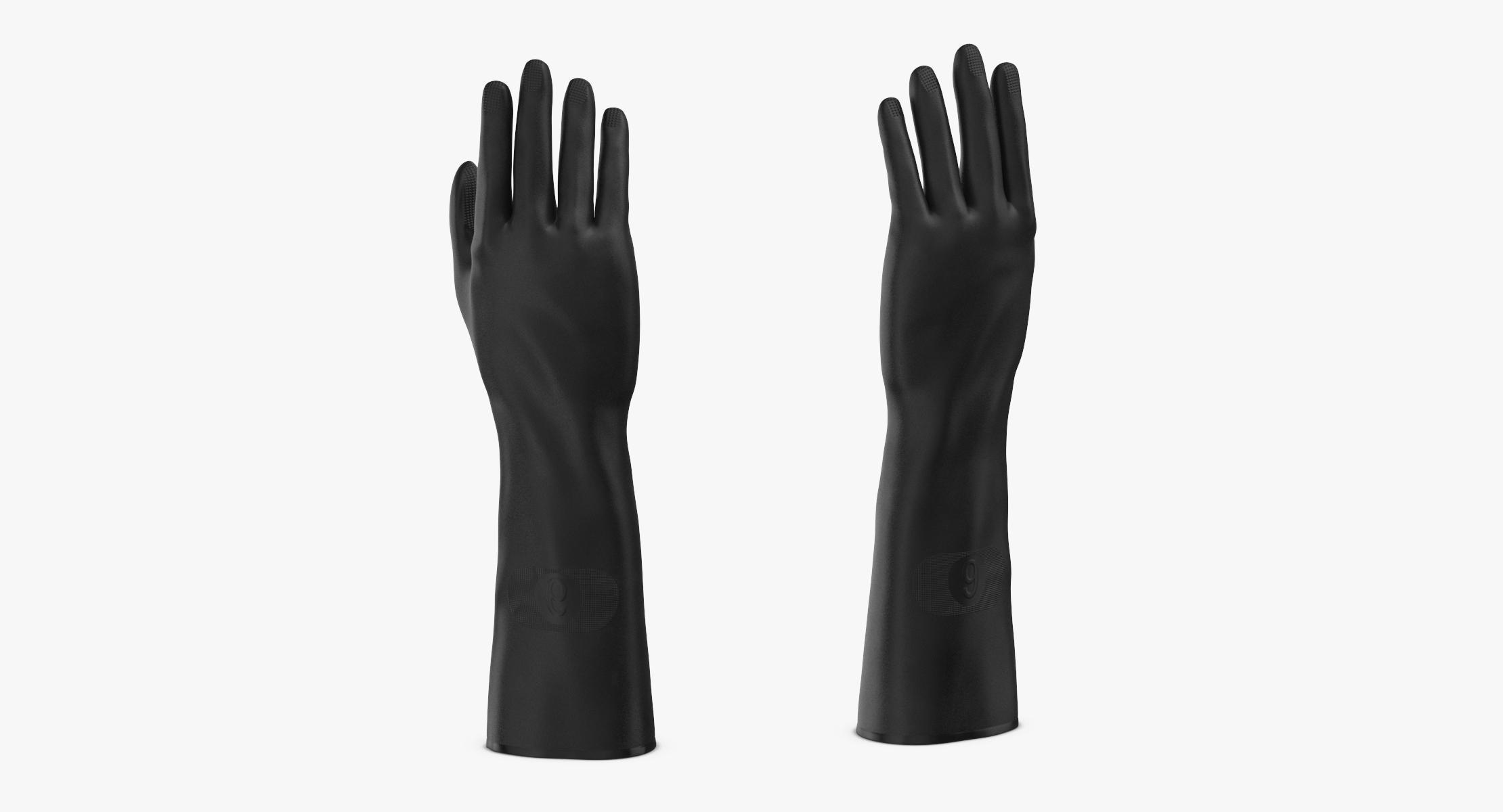 Large Black Rubber Lab Gloves Worn - reel 1