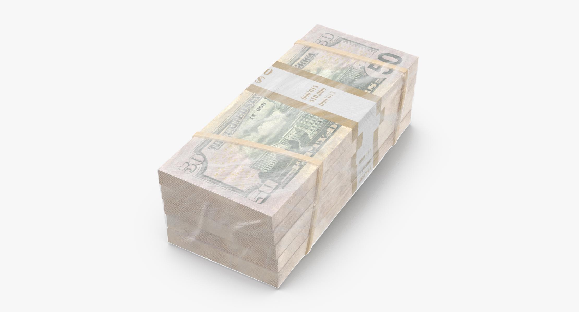 Wrapped Bills of Money - 50 Dollar Stacks 02 - reel 1