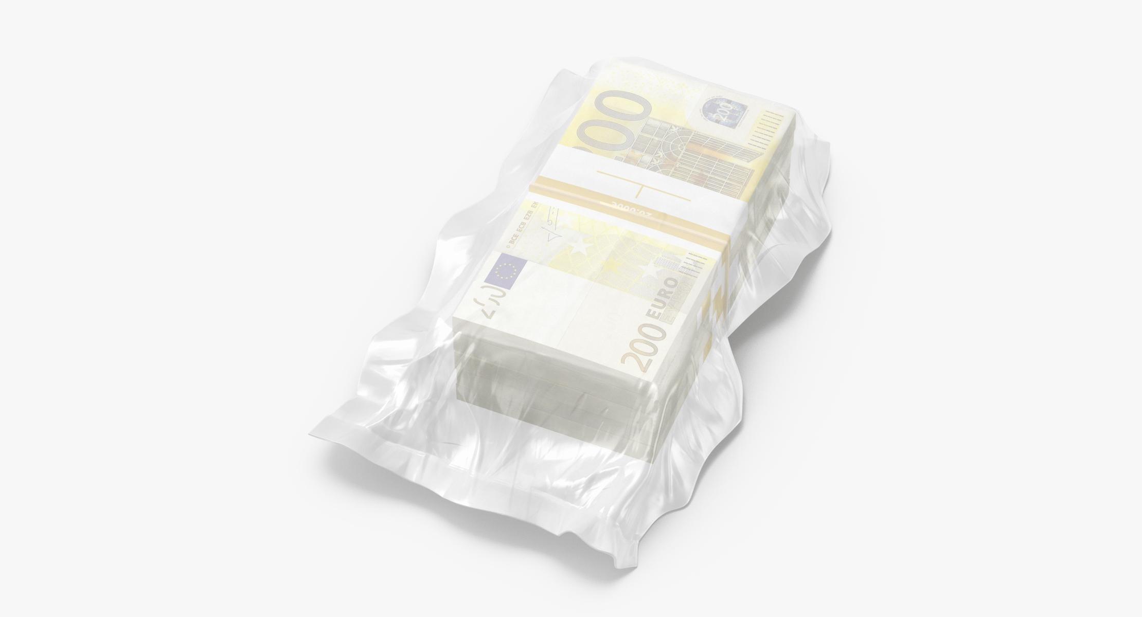 Wrapped Bills of Money - 200 Euro Stacks 02 - reel 1