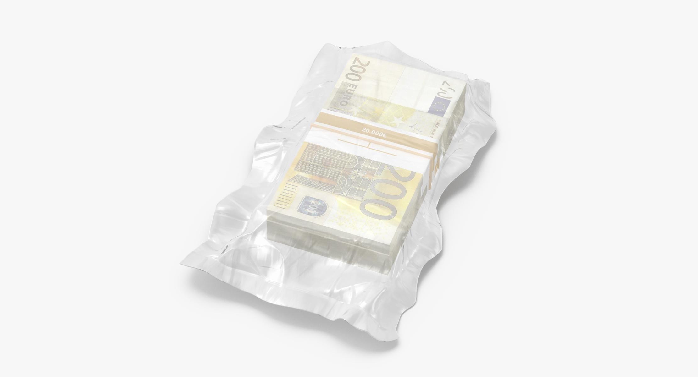 Wrapped Bills of Money - 200 Euro Stacks 01 - reel 1