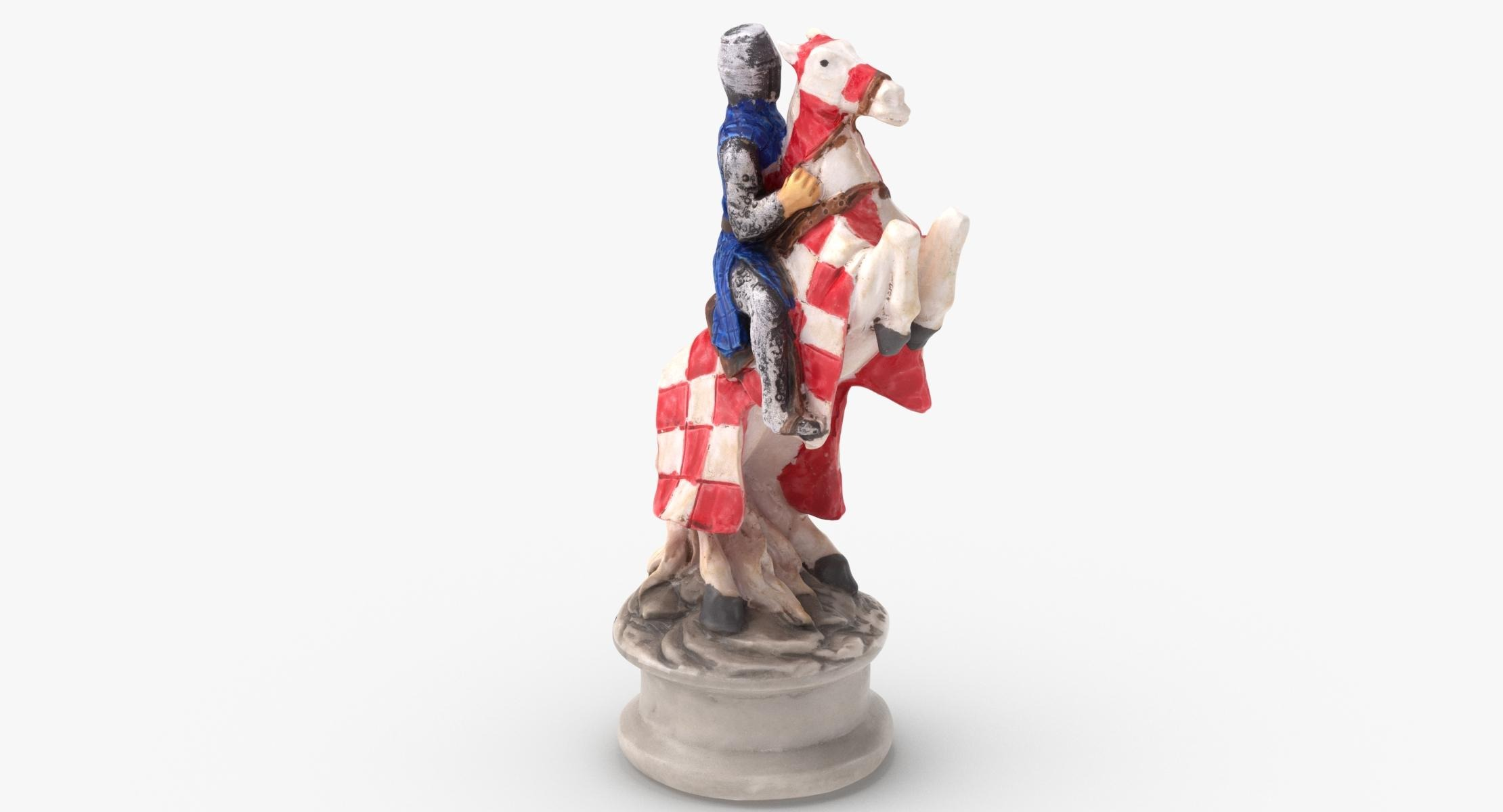 Chess Piece Knight White 3D - reel 1