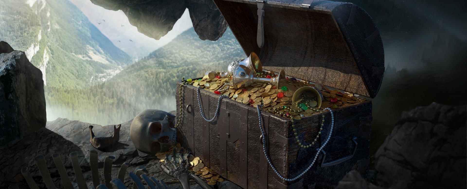 3D Treasure and bones in a cave scene