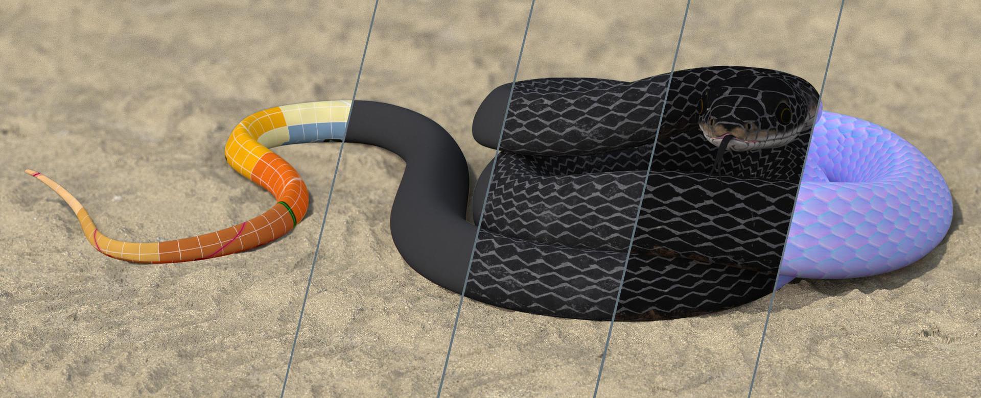 3D Rendering Black Snake